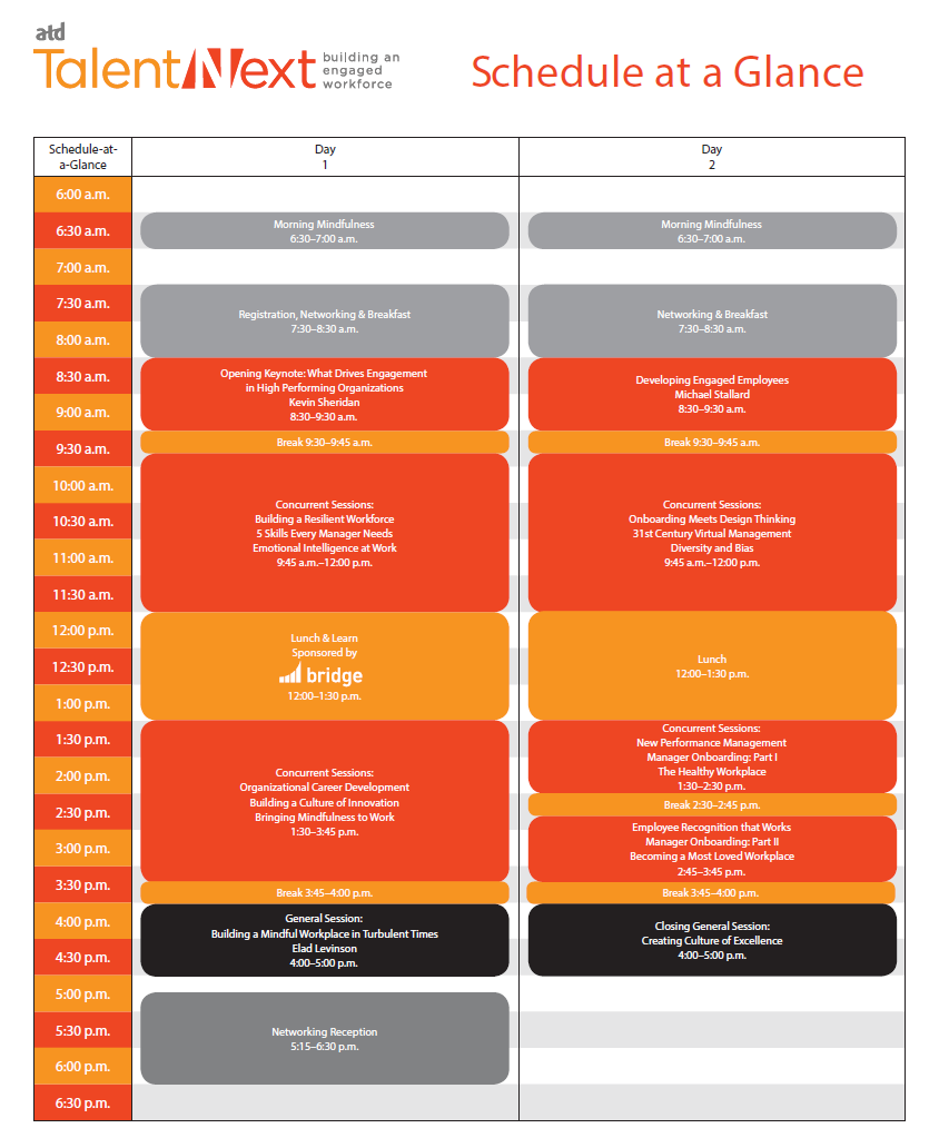 TalentNext Schedule-at-a-Glance